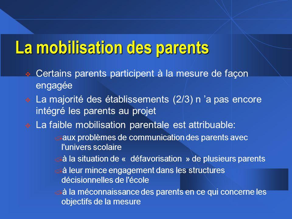 La mobilisation des parents v Certains parents participent à la mesure de façon engagée v La majorité des établissements (2/3) n a pas encore intégré