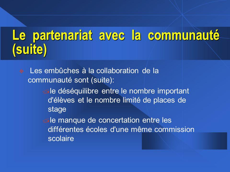 Le partenariat avec la communauté (suite) v Les embûches à la collaboration de la communauté sont (suite): / le déséquilibre entre le nombre important