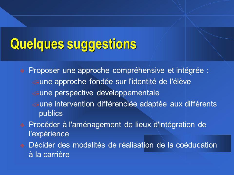 Quelques suggestions v Proposer une approche compréhensive et intégrée : / une approche fondée sur l'identité de l'élève / une perspective développeme