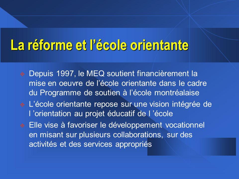 La réforme et lécole orientante Depuis 1997, le MEQ soutient financièrement la mise en oeuvre de lécole orientante dans le cadre du Programme de souti