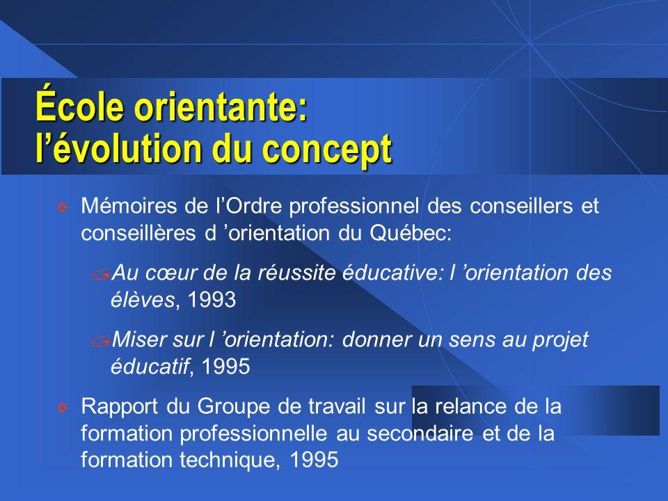 École orientante: lévolution du concept (suite) Rapport final de la Commission des États généraux sur l éducation, 1996 Rapport du groupe de travail sur la réforme du curriculum, 1997 Programme de soutien à lécole montréalaise, 1997