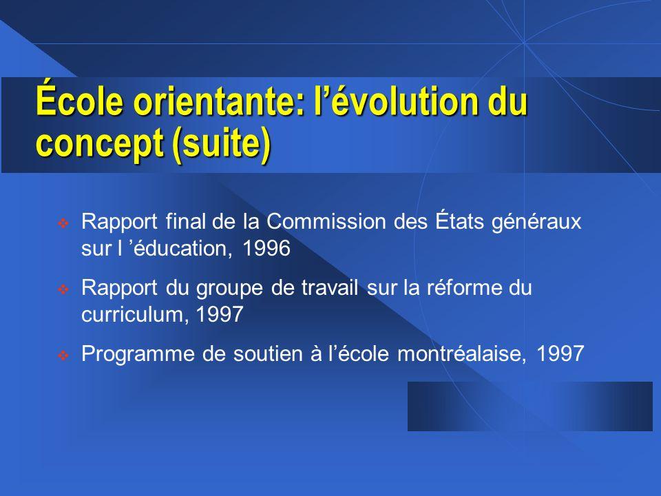 École orientante: lévolution du concept (suite) Rapport final de la Commission des États généraux sur l éducation, 1996 Rapport du groupe de travail s