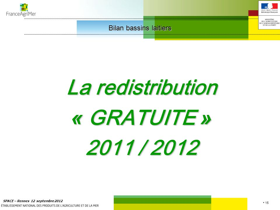 15 SPACE – Rennes 12 septembre 2012 La redistribution « GRATUITE » 2011 / 2012 Bilan bassins laitiers Bilan bassins laitiers