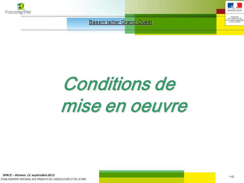 40 SPACE – Rennes 12 septembre 2012 Conditions de mise en oeuvre Bassin laitier Grand Ouest Bassin laitier Grand Ouest