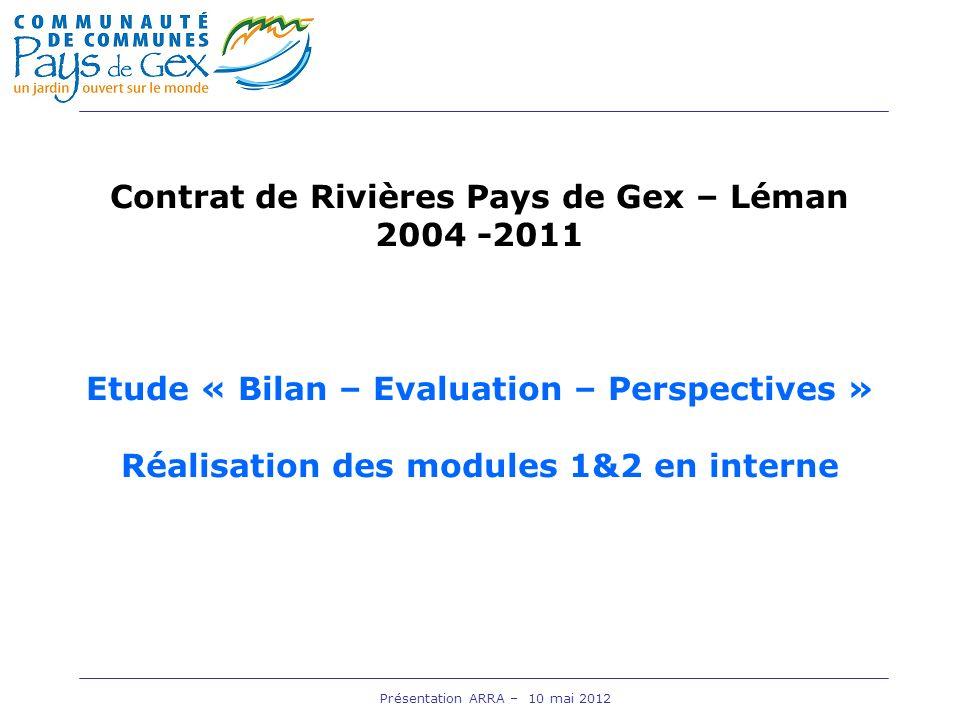 Présentation ARRA – 10 mai 2012 Contrat de Rivières Pays de Gex – Léman 2004 -2011 Etude « Bilan – Evaluation – Perspectives » Réalisation des modules