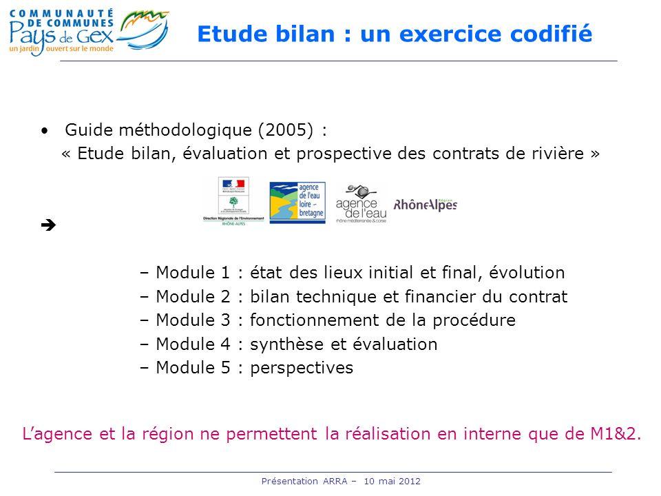 Etude bilan : un exercice codifié Guide méthodologique (2005) : « Etude bilan, évaluation et prospective des contrats de rivière » –Module 1 : état de