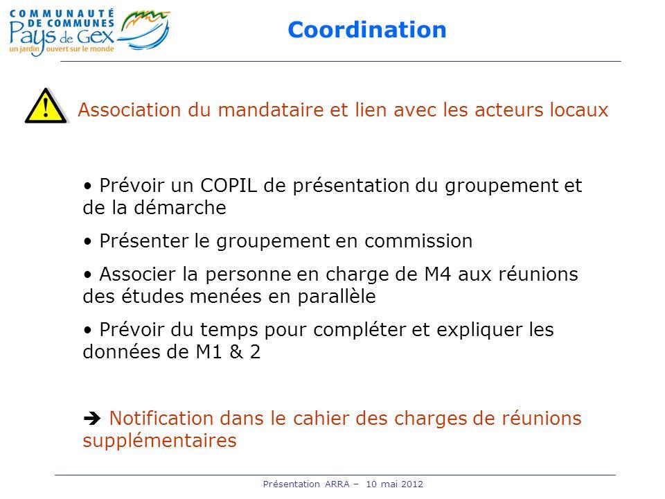 Coordination Présentation ARRA – 10 mai 2012 Association du mandataire et lien avec les acteurs locaux Prévoir un COPIL de présentation du groupement