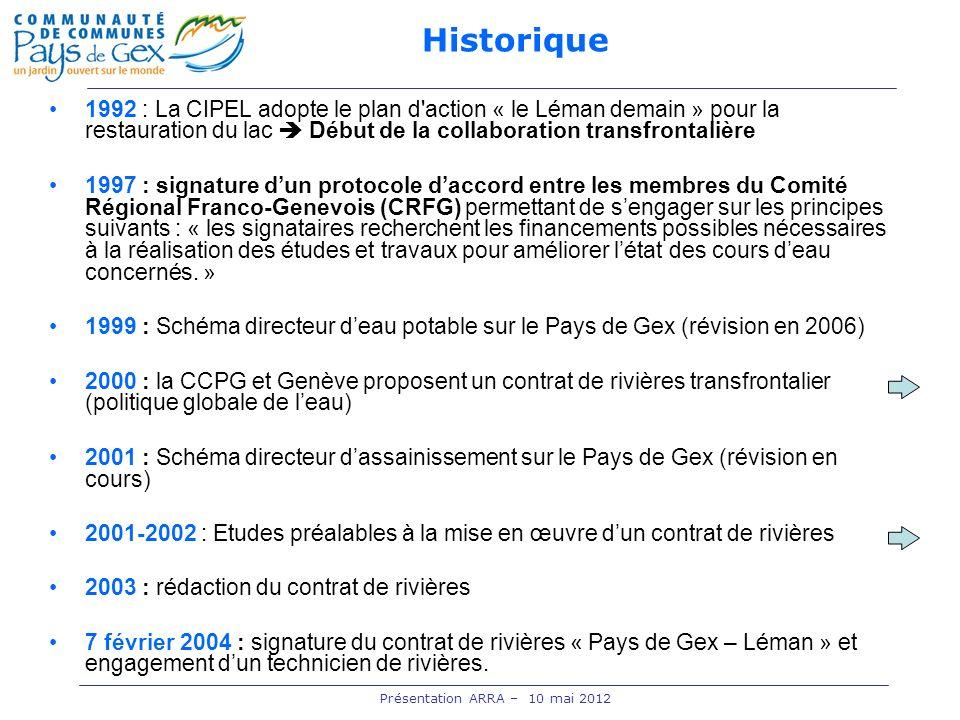 1992 : La CIPEL adopte le plan d'action « le Léman demain » pour la restauration du lac Début de la collaboration transfrontalière 1997 : signature du