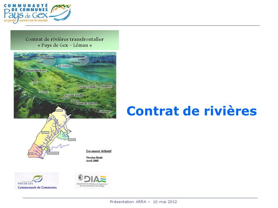 Contrat de rivières Présentation ARRA – 10 mai 2012