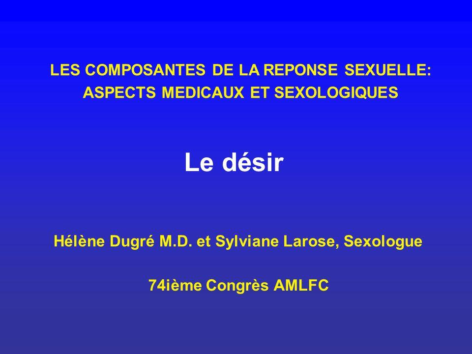 LES COMPOSANTES DE LA REPONSE SEXUELLE: ASPECTS MEDICAUX ET SEXOLOGIQUES Le désir Hélène Dugré M.D. et Sylviane Larose, Sexologue 74ième Congrès AMLFC