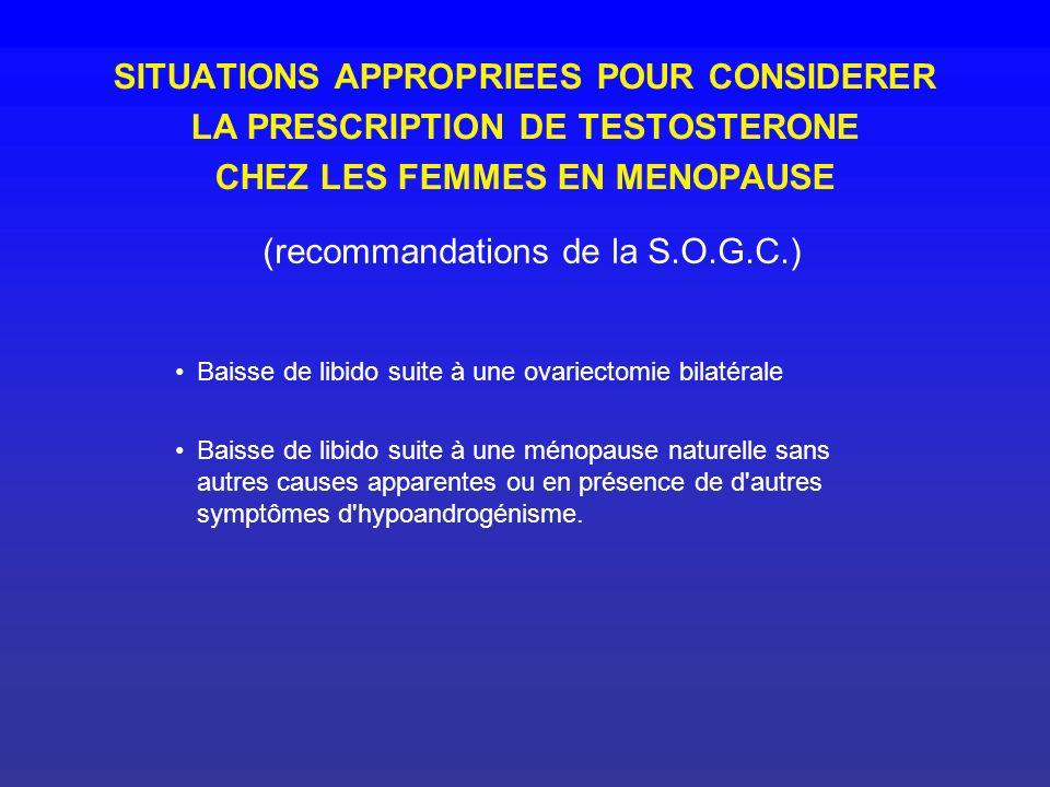 SITUATIONS APPROPRIEES POUR CONSIDERER LA PRESCRIPTION DE TESTOSTERONE CHEZ LES FEMMES EN MENOPAUSE Baisse de libido suite à une ovariectomie bilatéra