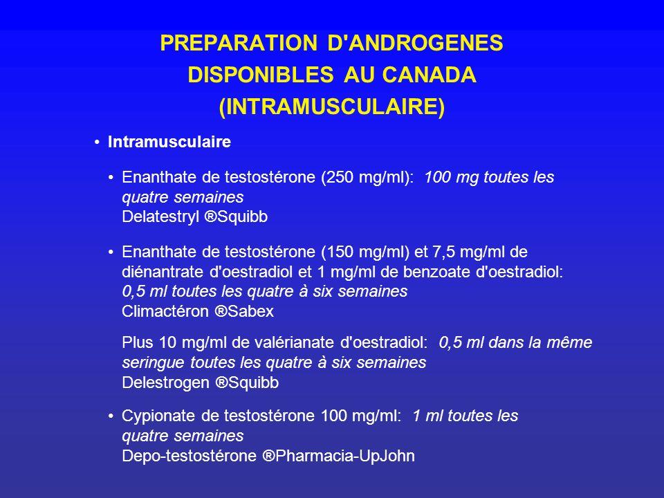 PREPARATION D'ANDROGENES DISPONIBLES AU CANADA (INTRAMUSCULAIRE) Intramusculaire Enanthate de testostérone (250 mg/ml): 100 mg toutes les quatre semai
