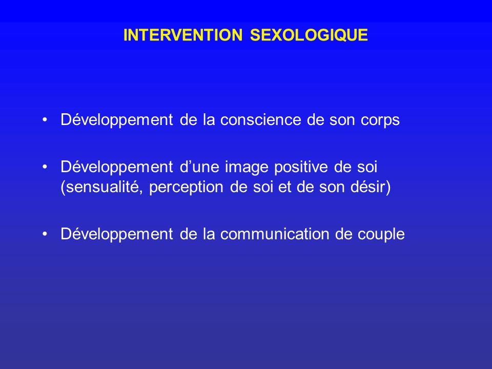 INTERVENTION SEXOLOGIQUE Développement de la conscience de son corps Développement dune image positive de soi (sensualité, perception de soi et de son