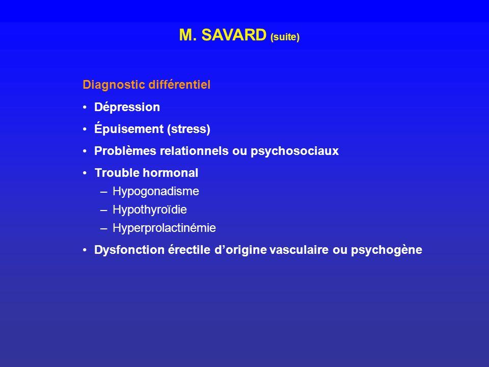 Diagnostic différentiel Dépression Épuisement (stress) Problèmes relationnels ou psychosociaux Trouble hormonal –Hypogonadisme –Hypothyroïdie –Hyperpr