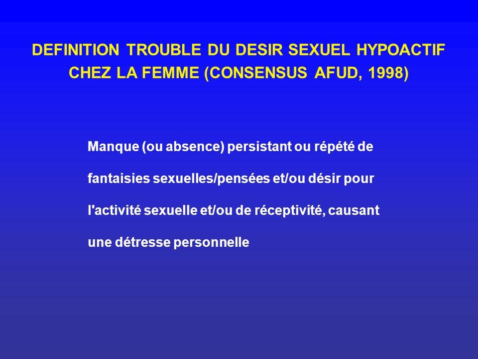 DEFINITION TROUBLE DU DESIR SEXUEL HYPOACTIF CHEZ LA FEMME (CONSENSUS AFUD, 1998) Manque (ou absence) persistant ou répété de fantaisies sexuelles/pen