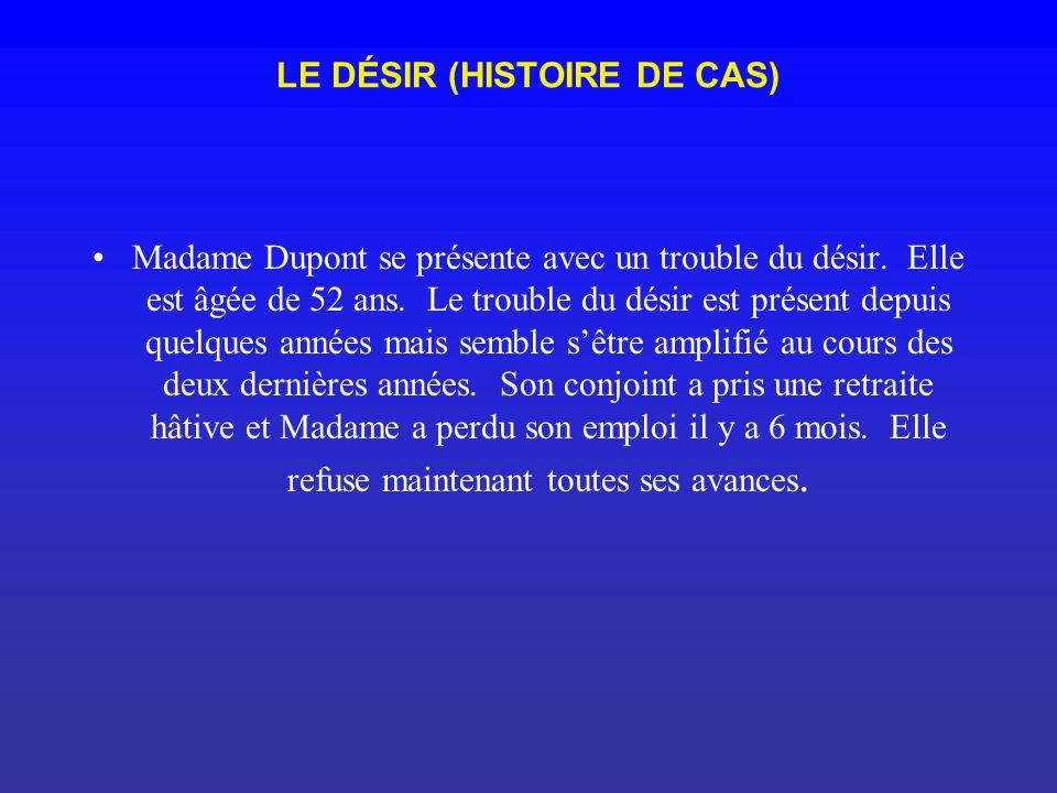 LE DÉSIR (HISTOIRE DE CAS) Madame Dupont se présente avec un trouble du désir. Elle est âgée de 52 ans. Le trouble du désir est présent depuis quelque