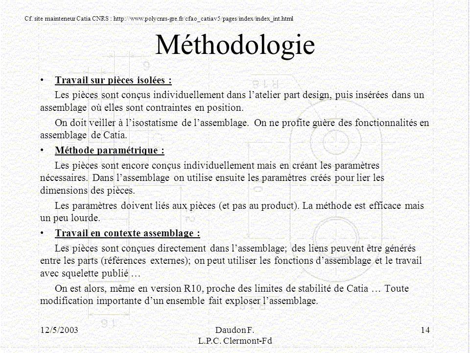 12/5/2003Daudon F. L.P.C. Clermont-Fd 14 Méthodologie Travail sur pièces isolées : Les pièces sont conçus individuellement dans latelier part design,