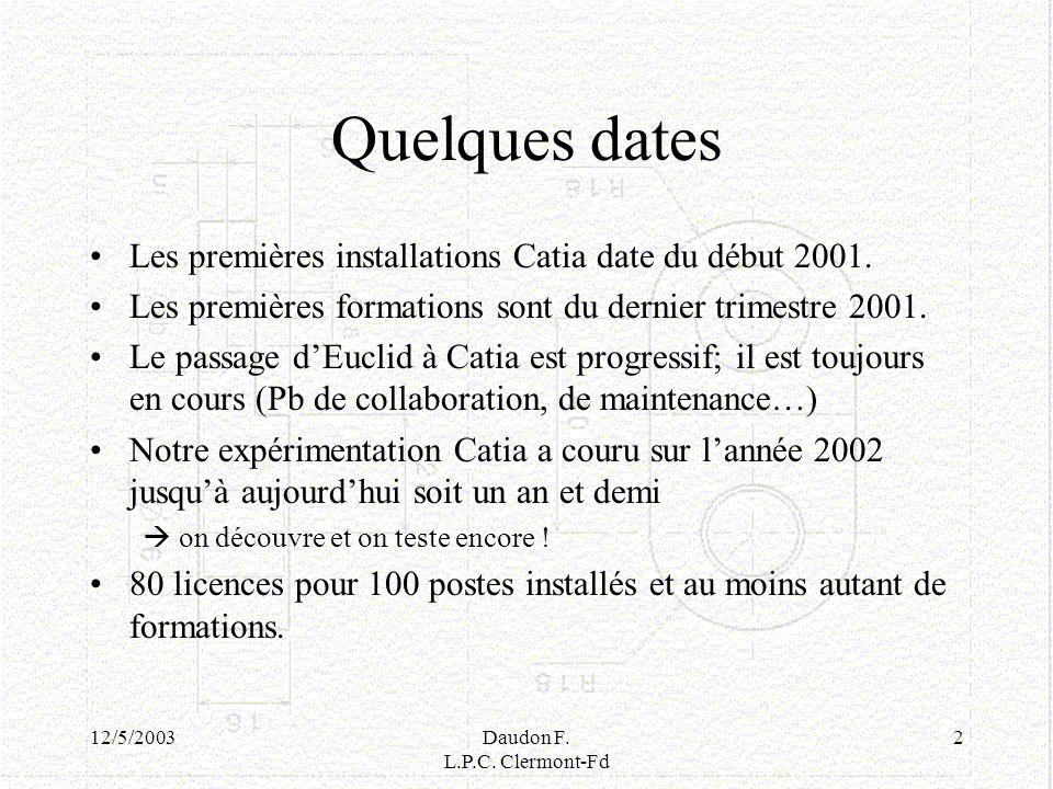 12/5/2003Daudon F. L.P.C. Clermont-Fd 2 Quelques dates Les premières installations Catia date du début 2001. Les premières formations sont du dernier