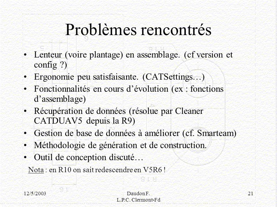 12/5/2003Daudon F. L.P.C. Clermont-Fd 21 Problèmes rencontrés Lenteur (voire plantage) en assemblage. (cf version et config ?) Ergonomie peu satisfais