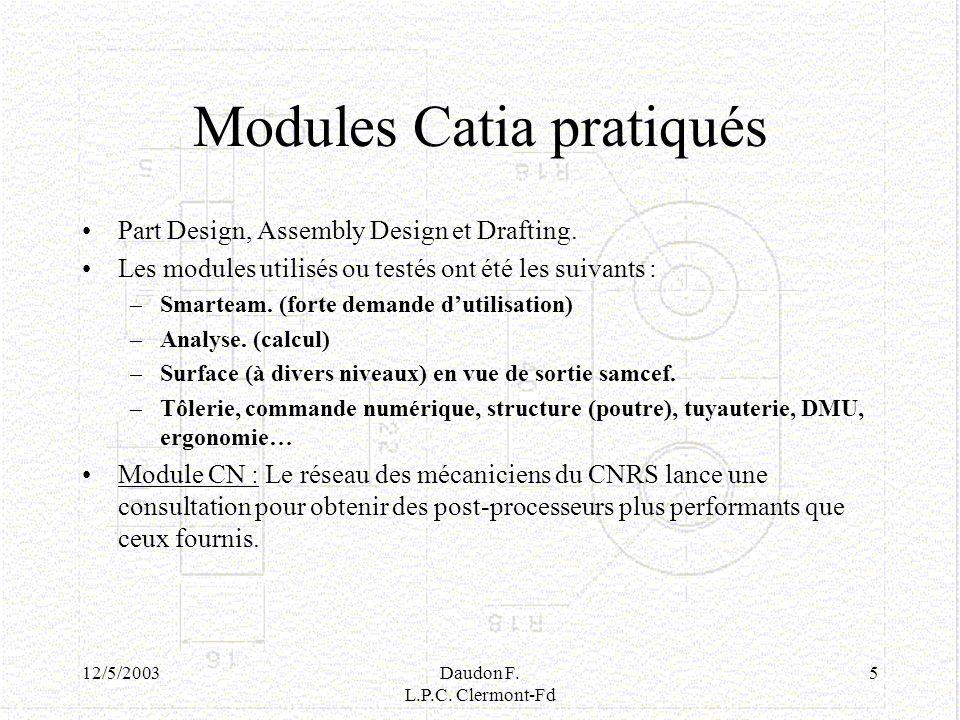 12/5/2003Daudon F. L.P.C. Clermont-Fd 5 Modules Catia pratiqués Part Design, Assembly Design et Drafting. Les modules utilisés ou testés ont été les s