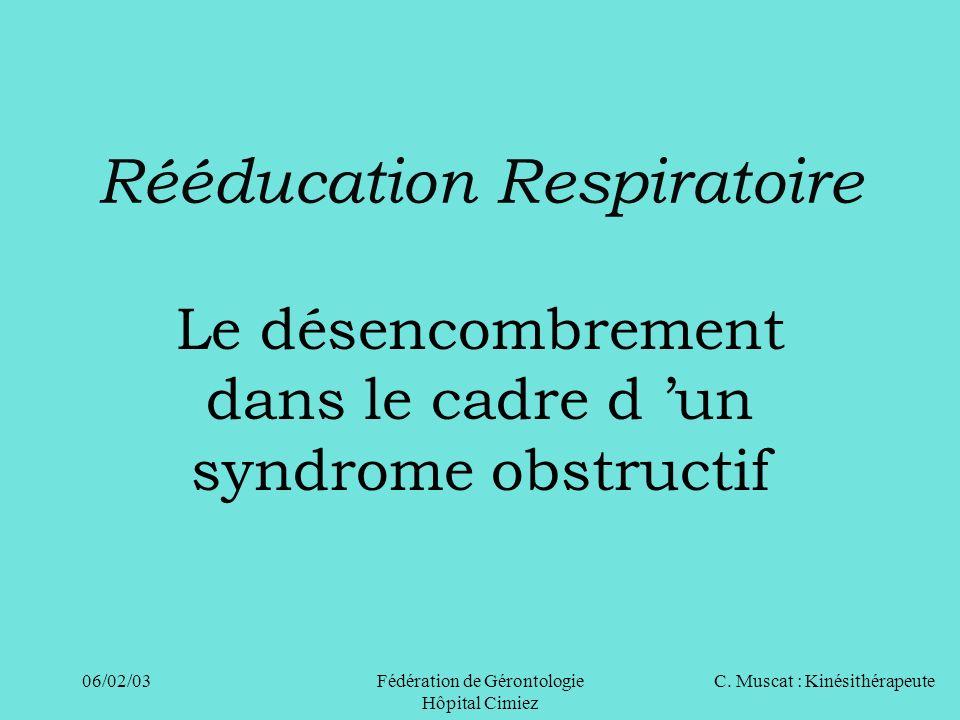 C. Muscat : Kinésithérapeute06/02/03 Fédération de Gérontologie Hôpital Cimiez Rééducation Respiratoire Le désencombrement dans le cadre d un syndrome