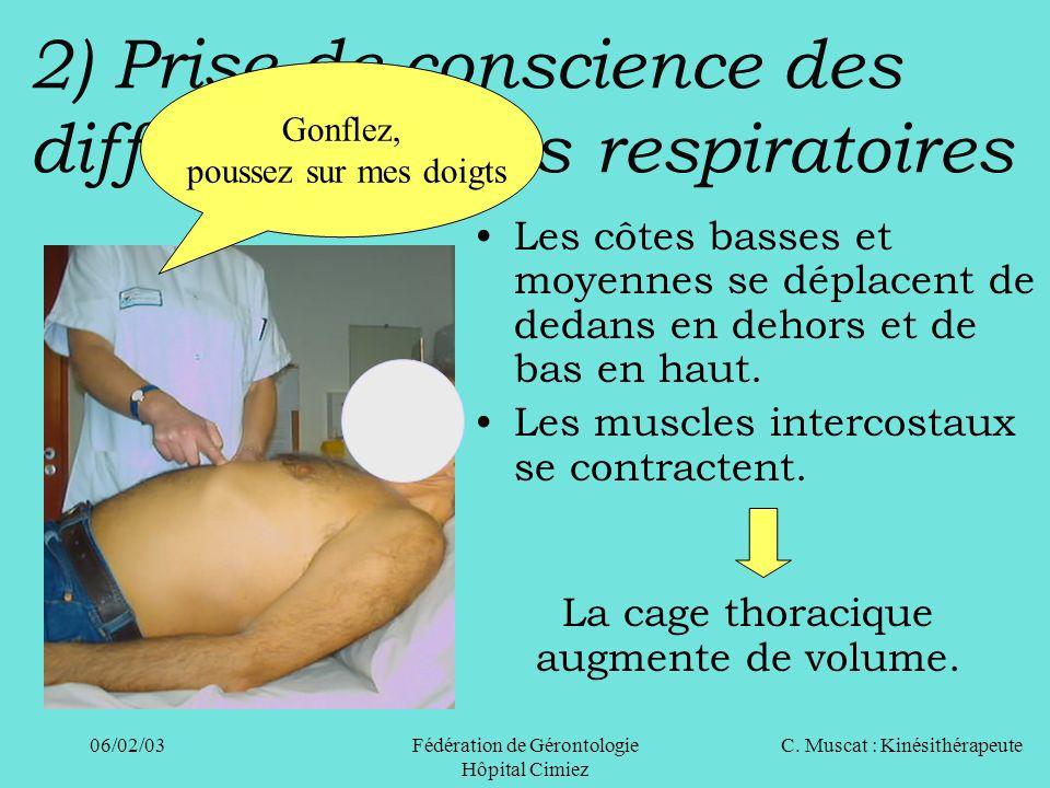 C. Muscat : Kinésithérapeute06/02/03 Fédération de Gérontologie Hôpital Cimiez 2) Prise de conscience des différents temps respiratoires Les côtes bas