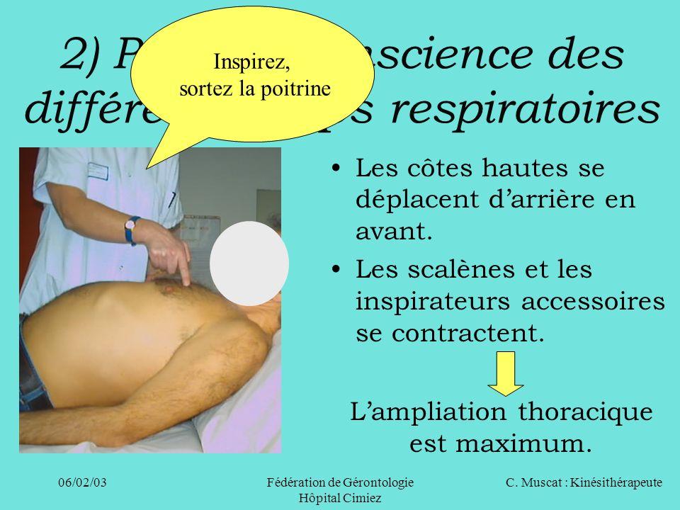 C. Muscat : Kinésithérapeute06/02/03 Fédération de Gérontologie Hôpital Cimiez 2) Prise de conscience des différents temps respiratoires Les côtes hau