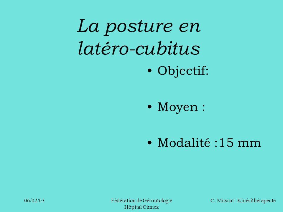 C. Muscat : Kinésithérapeute06/02/03 Fédération de Gérontologie Hôpital Cimiez La posture en latéro-cubitus Objectif: Moyen : Modalité :15 mm