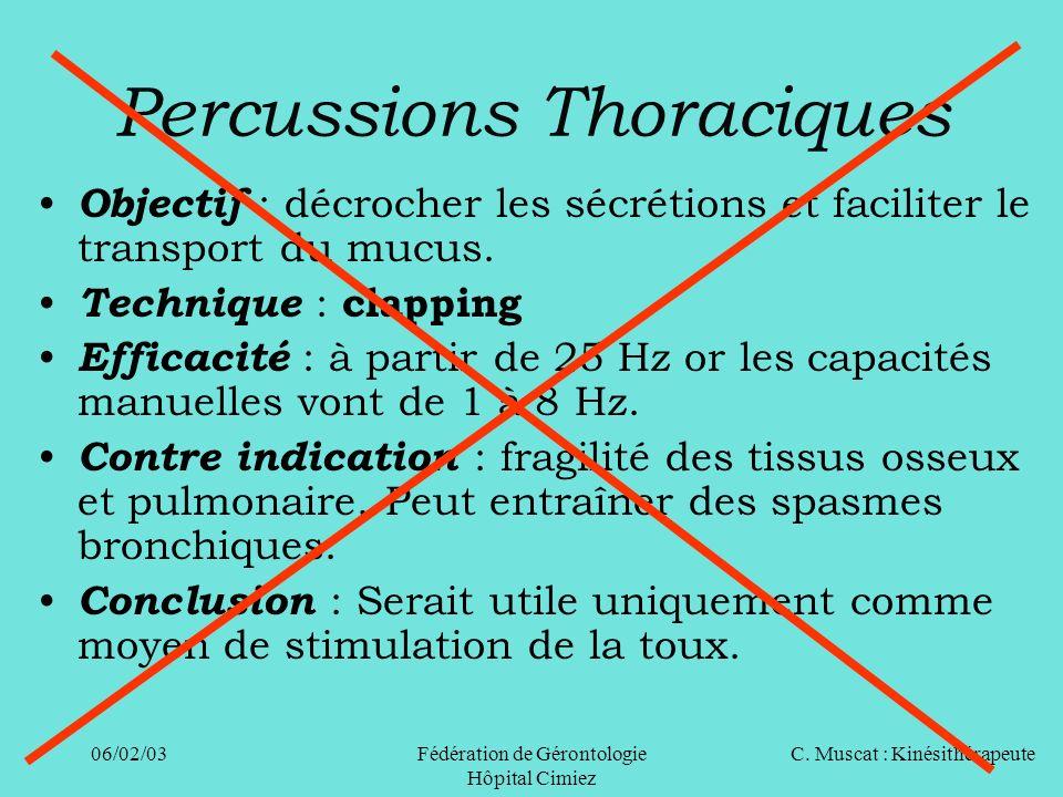 C. Muscat : Kinésithérapeute06/02/03 Fédération de Gérontologie Hôpital Cimiez Percussions Thoraciques Objectif : décrocher les sécrétions et facilite