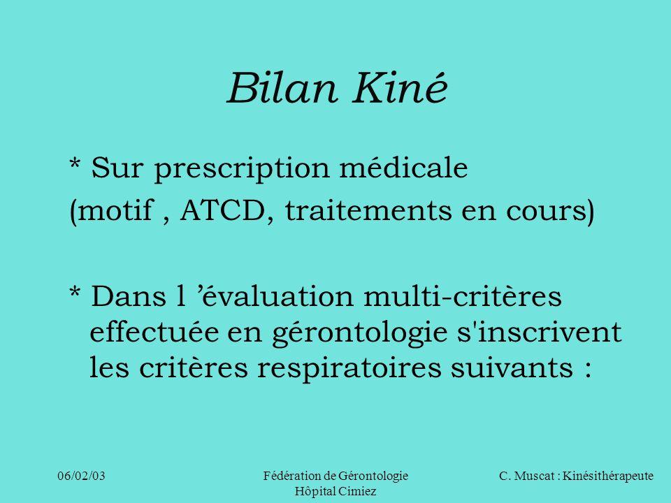 C. Muscat : Kinésithérapeute06/02/03 Fédération de Gérontologie Hôpital Cimiez * Sur prescription médicale (motif, ATCD, traitements en cours) * Dans