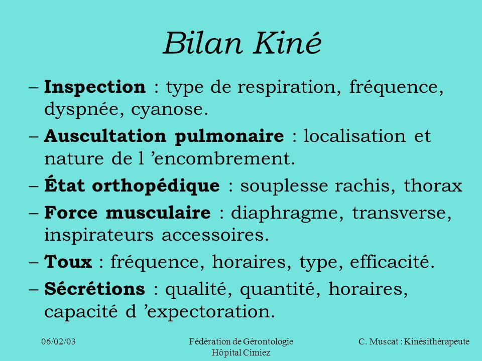 C. Muscat : Kinésithérapeute06/02/03 Fédération de Gérontologie Hôpital Cimiez Bilan Kiné – Inspection : type de respiration, fréquence, dyspnée, cyan