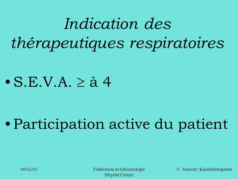 C. Muscat : Kinésithérapeute06/02/03 Fédération de Gérontologie Hôpital Cimiez Indication des thérapeutiques respiratoires S.E.V.A. à 4 Participation