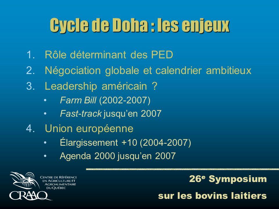 26 e Symposium sur les bovins laitiers Cycle de Doha : les enjeux 1.Rôle déterminant des PED 2.Négociation globale et calendrier ambitieux 3.Leadership américain .