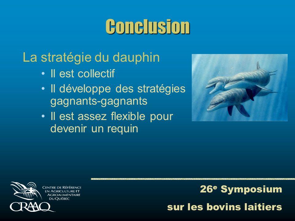 26 e Symposium sur les bovins laitiers Conclusion La stratégie du dauphin Il est collectif Il développe des stratégies gagnants-gagnants Il est assez flexible pour devenir un requin