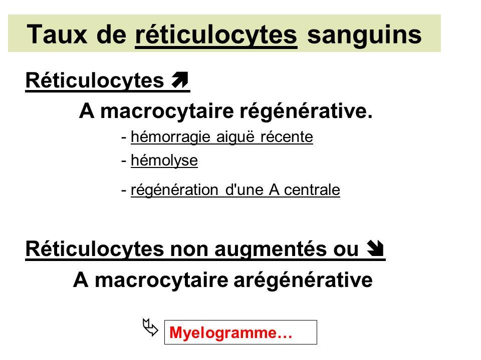 Taux de réticulocytes sanguins Réticulocytes A macrocytaire régénérative.