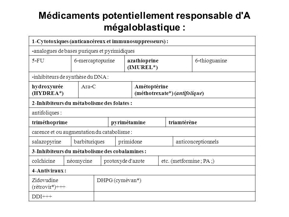 Médicaments potentiellement responsable d A mégaloblastique : 1-Cytotoxiques (anticancéreux et immunosuppresseurs) : -analogues de bases puriques et pyrimidiques 5-FU6-mercaptopurineazathioprine (IMUREL*) 6-thioguanine -inhibiteurs de synthèse du DNA : hydroxyurée (HYDREA*) Ara-CAmétoptérine (méthotrexate*) (antifolique) 2-Inhibiteurs du métabolisme des folates : antifoliques : triméthoprimepyrimétaminetriamtérène carence et ou augmentation du catabolisme : salazopyrinebarbituriquesprimidoneanticonceptionnels 3-Inhibiteurs du métabolisme des cobalamines : colchicinenéomycineprotoxyde d azoteetc.
