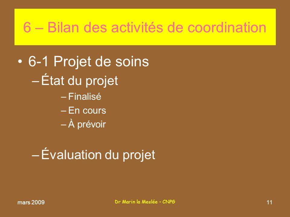 Dr Marin la Meslée - CNPG 11 6-1 Projet de soins –État du projet –Finalisé –En cours –À prévoir –Évaluation du projet 6 – Bilan des activités de coordination mars 2009