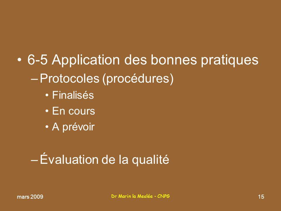 Dr Marin la Meslée - CNPG 15 6-5 Application des bonnes pratiques –Protocoles (procédures) Finalisés En cours A prévoir –Évaluation de la qualité mars 2009