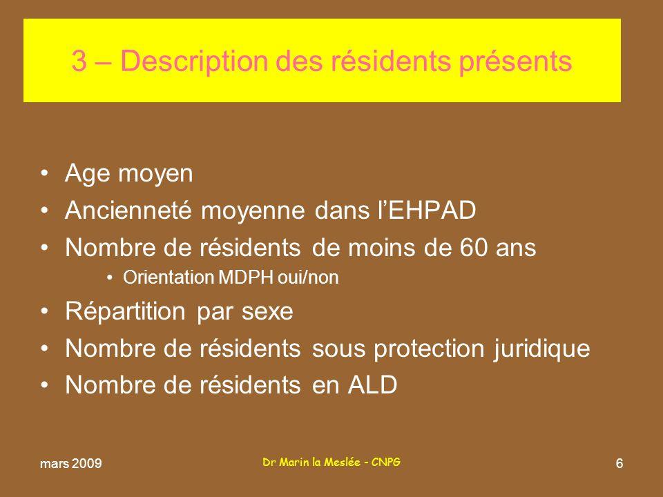 Dr Marin la Meslée - CNPG 27 7-2 Diagnostics particuliers (suite) –Scabioses Nombre de résidents concernés soit % –Soins psychiatriques Nombre de résidents concernés soit % –Soins palliatifs Nombre de résidents concernés soit % mars 2009