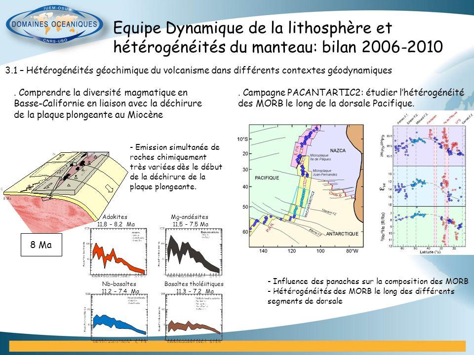 3.1 – Hétérogénéités géochimique du volcanisme dans différents contextes géodynamiques - Influence des panaches sur la composition des MORB - Hétérogé
