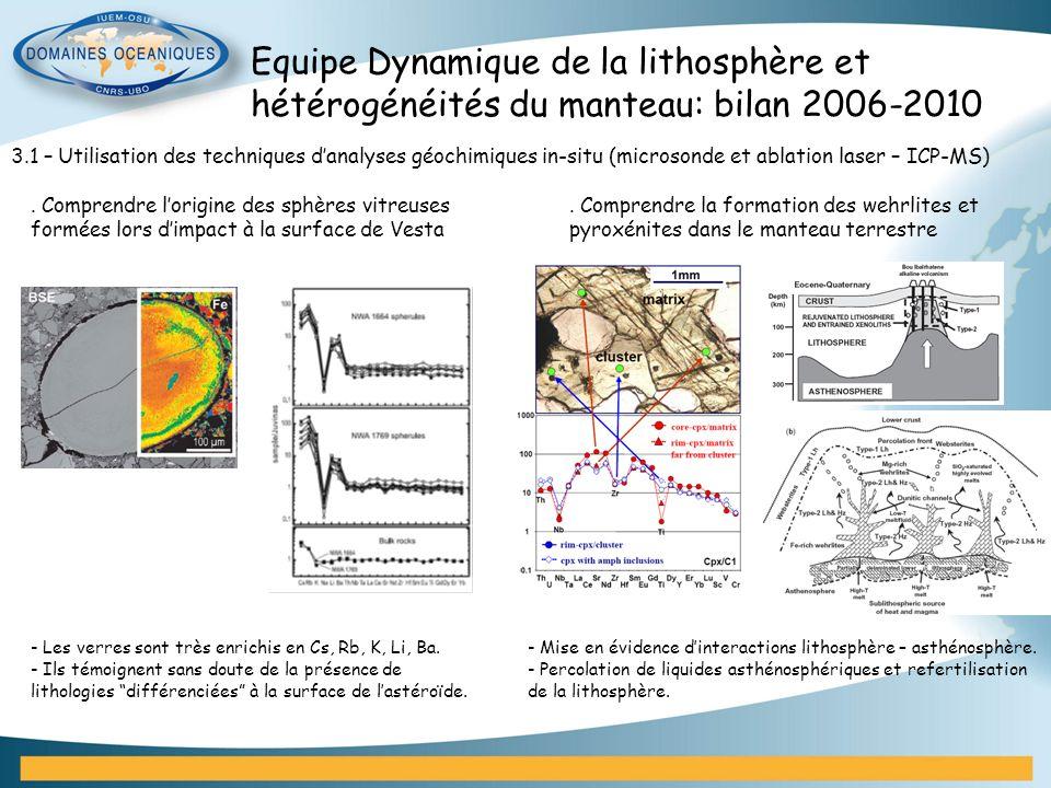 Equipe Dynamique de la lithosphère et hétérogénéités du manteau: bilan 2006-2010 3.1 – Utilisation des techniques danalyses géochimiques in-situ (micr