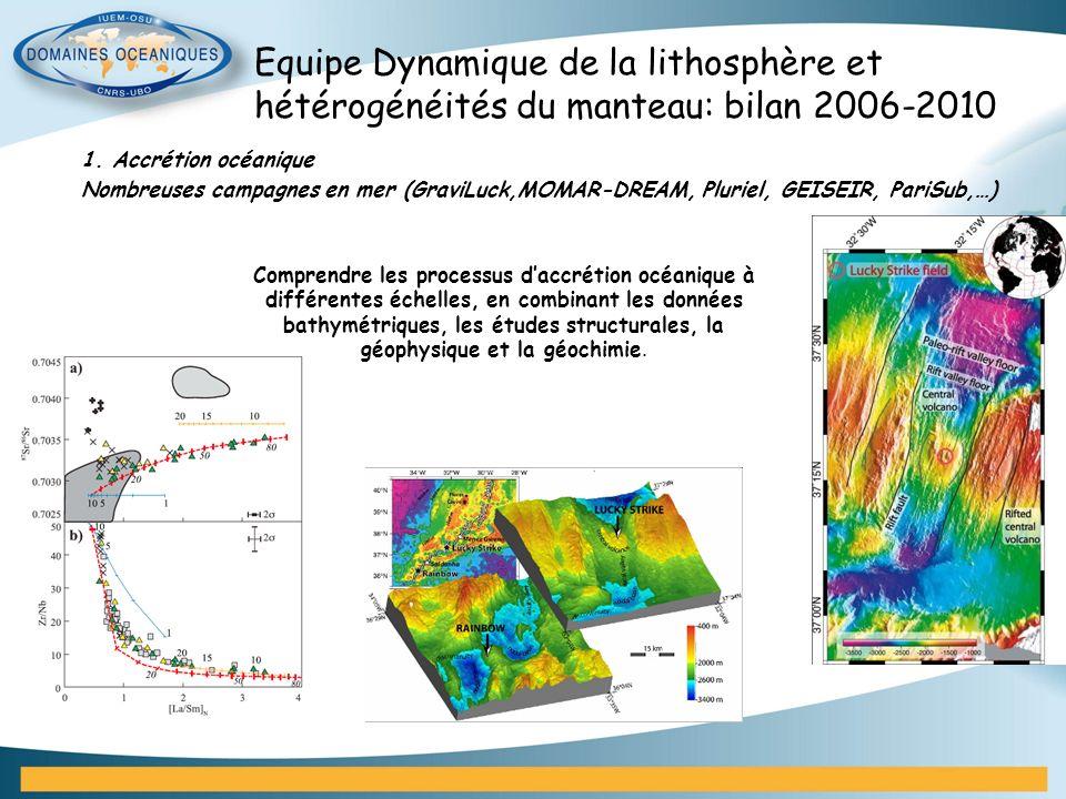 Equipe Dynamique de la lithosphère et hétérogénéités du manteau: bilan 2006-2010 1. Accrétion océanique Nombreuses campagnes en mer (GraviLuck,MOMAR-D