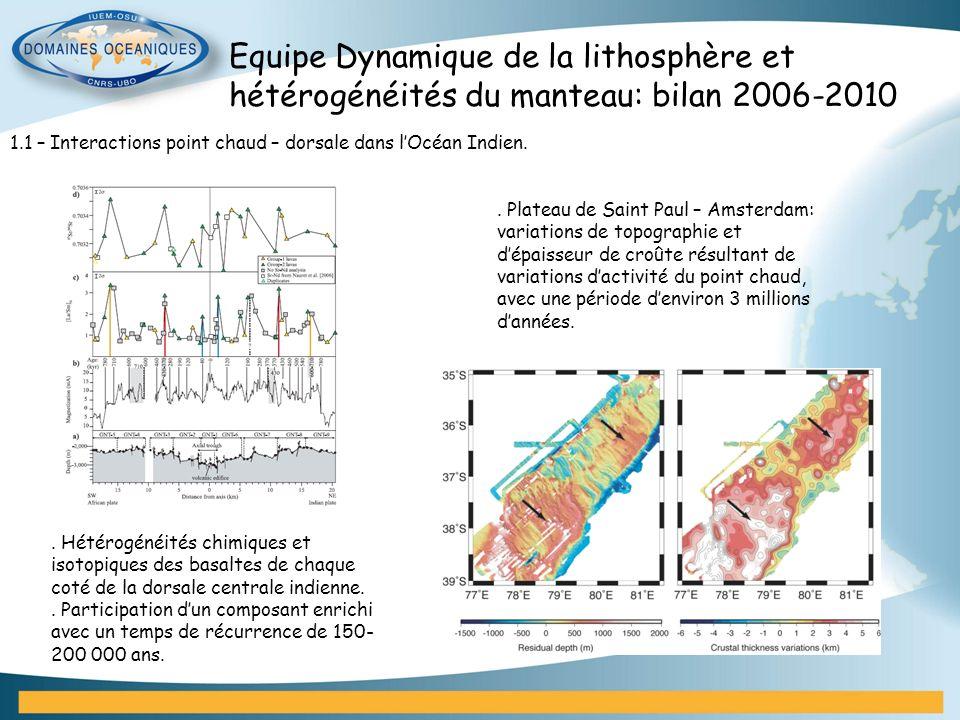 Equipe Dynamique de la lithosphère et hétérogénéités du manteau: bilan 2006-2010 1.1 – Interactions point chaud – dorsale dans lOcéan Indien.. Hétérog