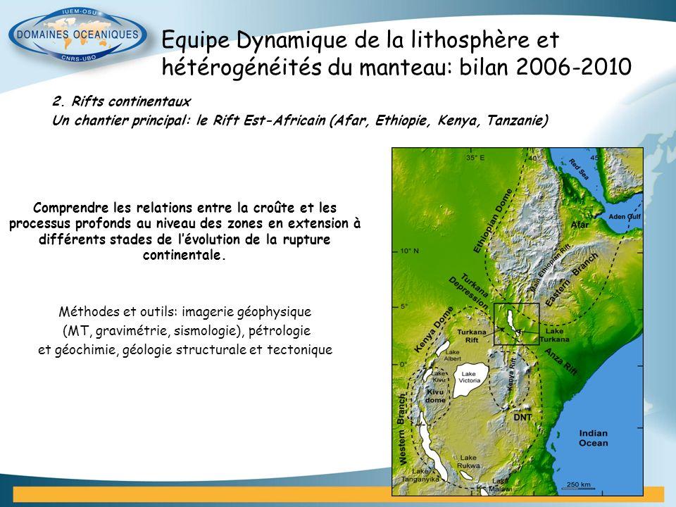 2. Rifts continentaux Un chantier principal: le Rift Est-Africain (Afar, Ethiopie, Kenya, Tanzanie) Comprendre les relations entre la croûte et les pr