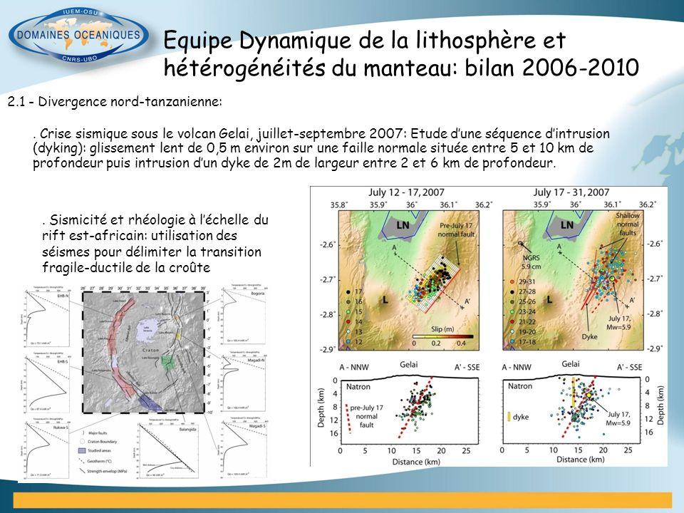2.1 - Divergence nord-tanzanienne:. Crise sismique sous le volcan Gelai, juillet-septembre 2007: Etude dune séquence dintrusion (dyking): glissement l