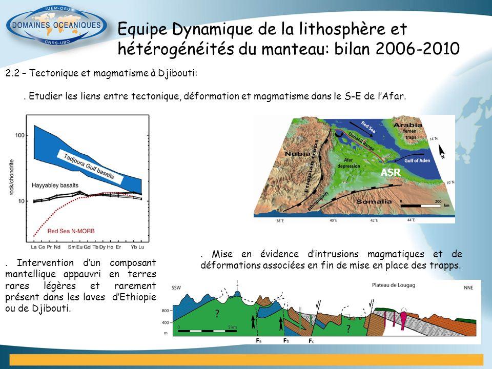 Equipe Dynamique de la lithosphère et hétérogénéités du manteau: bilan 2006-2010 2.2 – Tectonique et magmatisme à Djibouti:. Etudier les liens entre t