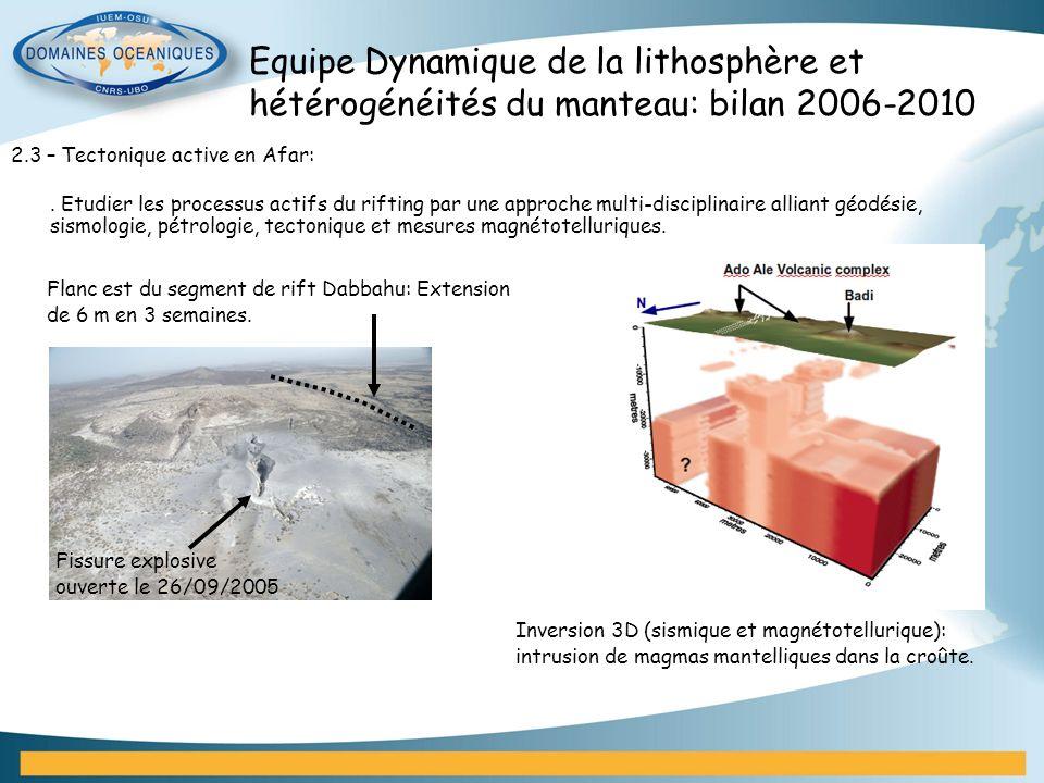 Equipe Dynamique de la lithosphère et hétérogénéités du manteau: bilan 2006-2010 2.3 – Tectonique active en Afar:. Etudier les processus actifs du rif