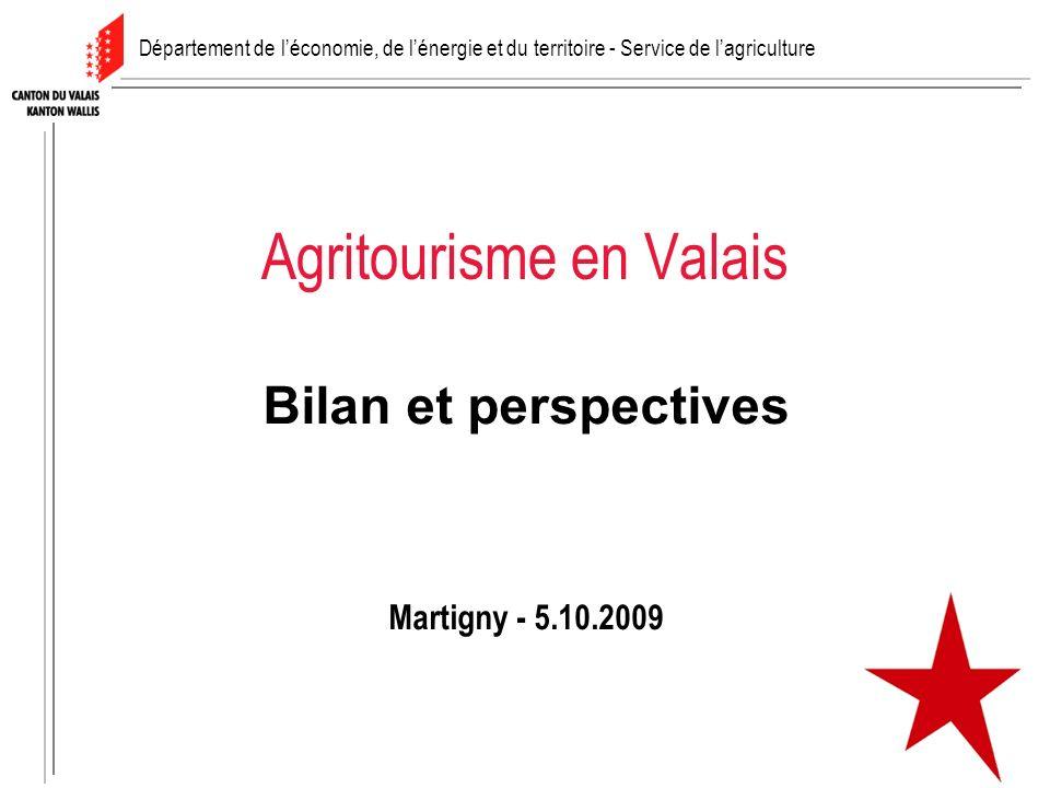 Agritourisme en Valais Bilan et perspectives Martigny - 5.10.2009 Département de léconomie, de lénergie et du territoire - Service de lagriculture
