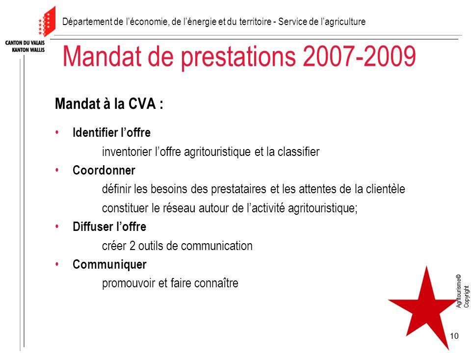 Agritourisme© Copyright 10 Agritourisme© Copyright 10 Mandat de prestations 2007-2009 Mandat à la CVA : Identifier loffre inventorier loffre agritouri