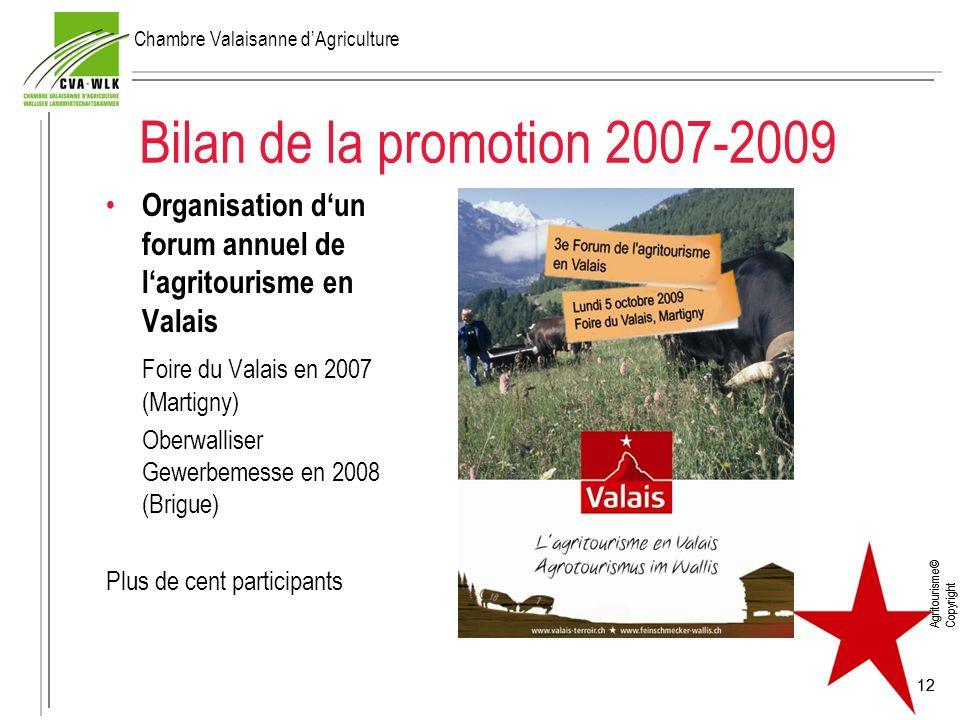 Agritourisme© Copyright 12 Bilan de la promotion 2007-2009 Organisation dun forum annuel de lagritourisme en Valais Foire du Valais en 2007 (Martigny)